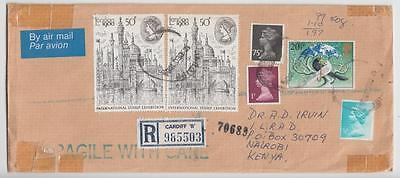 Gb 1984 Registered Airmail Cover Canterbury To Nairobi