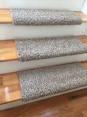 Latte Tan Beige TRUE Bullnose™ Stair Tread Padded Carpet Padding Step Cover