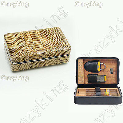 COHIBA Lizard Leather Wood 4 Tube Cigar Case Humidor With Lighter Cutter Set