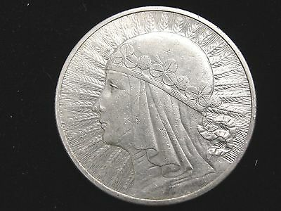 1932 Poland 10 Zlotych Silver Coin Looks XF Y22