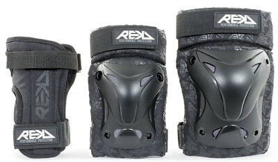 Rekd - Triple Pad Set - Black- Adult Skate Protection