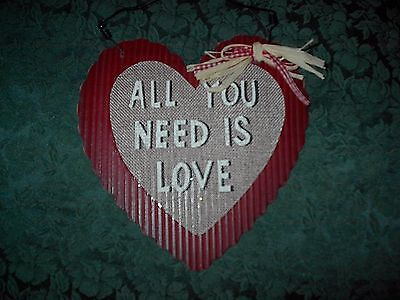 "Valentine's Day Decor-Wood Heart W/wire Hanger-8""-All You Need Is Love-New"