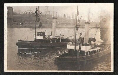P & O Ship The Khiva Being Towed By 2 Tugs Birkenhead Photo Postcard