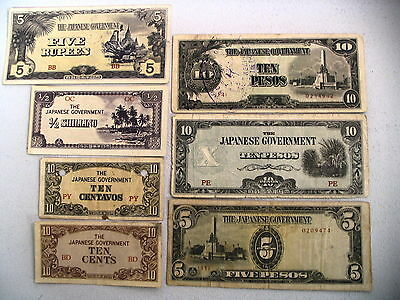 Lot of 7 WW II Japanase Occupation Notes   (#A-4)