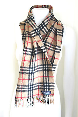 Men's Vintage Burberry Nova Check Wool and Cashmere Scarf - Burberrys Vintage