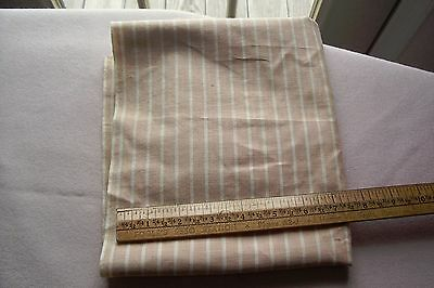 Vtg Antique 1800's 19th Century Woven Cotton Striped Fabric Cheddar