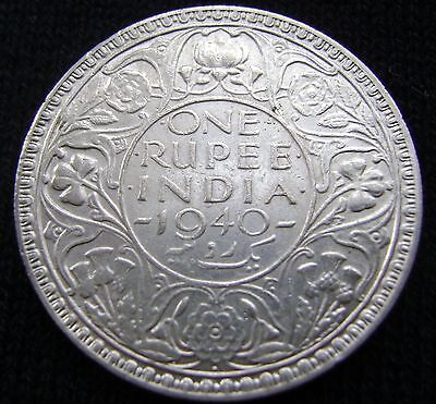 British India One Rupee, 1940 B Uncirculated Silver