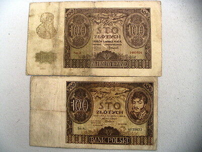 Poland Old Circulated 1932 & 1940 100 Zlotych banknotes   (#A-8)