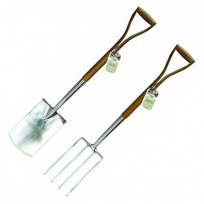 Stainless Steel Garden Digging Spade & Fork with Wooden Handles by Moulton Mill