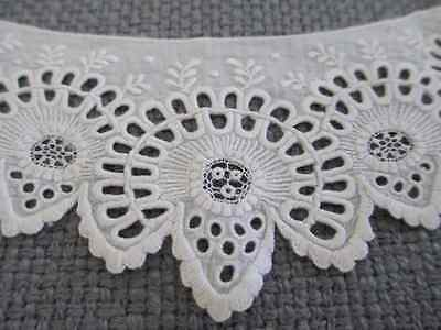 Antique Ayrshire Lace Whitework Embroidered Collar Trim Sample Edwardian