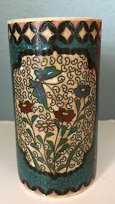 AntiqueCloisonné on Pottery (Satsuma) vase, signed and rare!