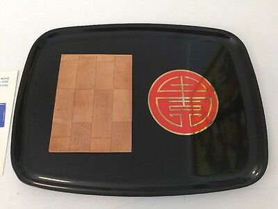 Vtg Couroc Cheeseboard Tray Black With Brass And Red Longevity Design