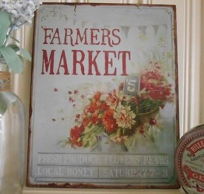 Shabby Metal Wall Plaque Vintage Chic Tin Sign Farmers Market Floral Basket Gift