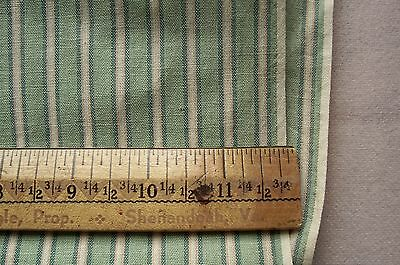 Vtg Antique 1800's 19th Century Woven Cotton Striped Fabric GREEN