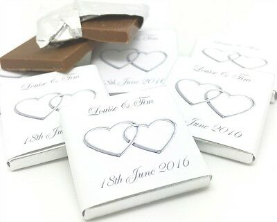 Personalised Chocolate Wedding Favours - Silver Entwined Hearts