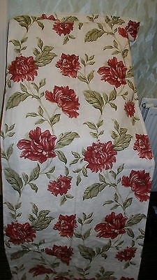 "pair ponden home lined curtains cream red flowers size 44""x88"""