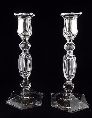 """Pair of Val St. Lambert 10"""" Tall Candlesticks Faceted Knobs Multi-Sided Foot"""