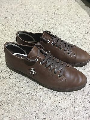Penguin Mens Brown Leather Lace Up Shoe/ Trainers Size 9 Eu 43
