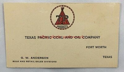 Vintage Advertising Business Card Texas Pacific and Oil Co Fort Worth Texas