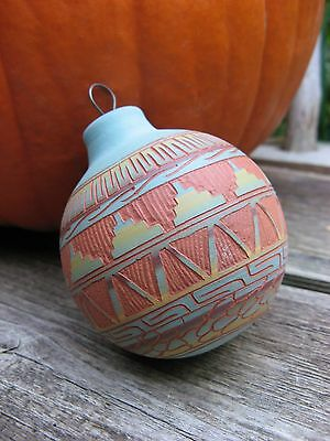 vtg Mabeline Grey Navajo Incised pottery ORNAMENT turquoise~terra cotta colors