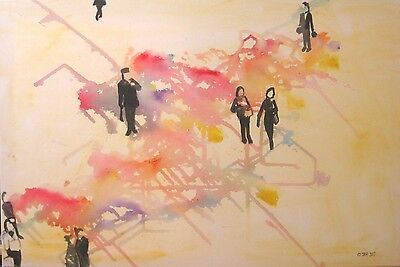 PEOPLE LARGE ORIGINAL OIL PAINTING Wall Art on Canvas Abstract Picture Modern