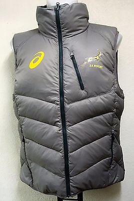 South Africa Springboks Rugby Grey Down Gilet By Asics Adults Medium Brand New