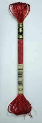 DMC Light Effects Thread E321 RED RUBY Embroidery Floss, 8m Skein