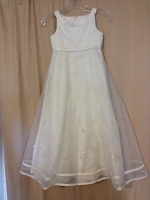 Young Girls Size 10 Flower Girl Formal Wedding Dress White Lace W/ Sequence
