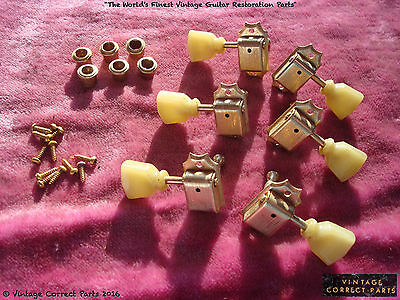 Vintage Gibson GOLD Kluson Deluxe Tuners Double Line Single Ring 1965 1966 1964