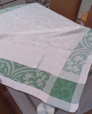 "Vintage White And Green Linen Double Damask Tablecloth ~ 52"" X 47"""