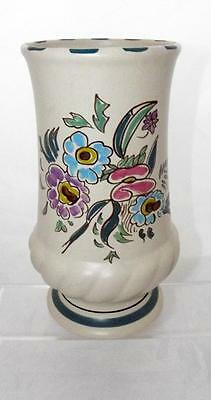 Honiton Pottery Floral Pattern Vase 19.5cm Tall x9.5cm made in White Earthenware
