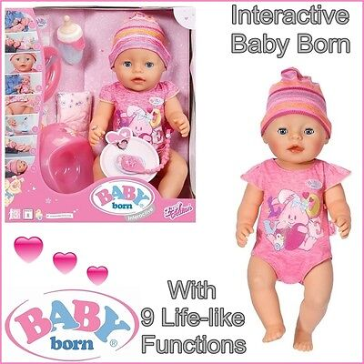 Baby Born Interactive Newborn Baby Girl Doll with Accessories 822005 Zapf