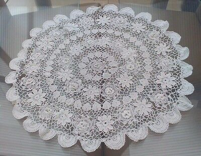 Vintage White Hand Crocheted Irish Lace Table Center / Doily