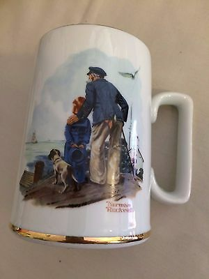"Norman Rockwell Mugs 1985 ""Looking Out To Sea""&"" River Pilot"" Museum Collection"