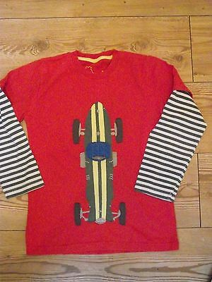 Boy's Boden Age 7- 8 Years Long Sleeved Layered T Shirt Racing Car, Red Green