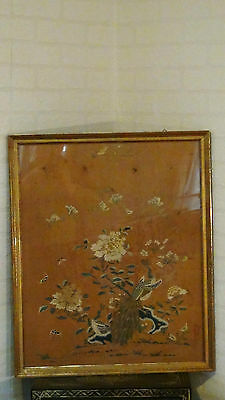 "Large Antique Chinese Qing Dynasty Silk Embroidery Panel ""peonies And Peacoks"""