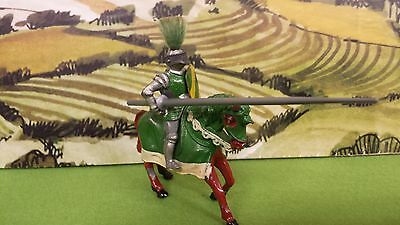 Vintage lead Timpo Medieval Knight mounted (Green Knight)
