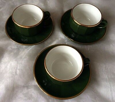3 Green & Gold Apilco Coffee Cups & Saucers, French Bistro Ware - Excellent Cond