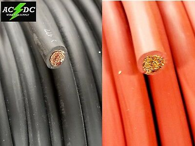Welding Cable Red Black #2 AWG GAUGE COPPER WIRE SAE J1127 CAR BATTERY SOLAR