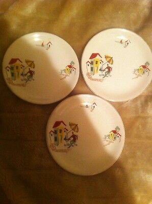 "Vintage ALFRED MEAKIN 'NICE' RIVIERA BRIXHAM 3 X Side Plates 6.75"" Retro 1950s"