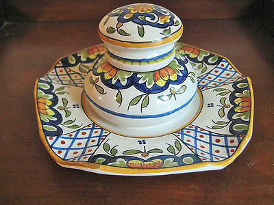 ANTIQUE FRENCH FAIENCE HENRI DELCOURT INKWELL c 1917-1935 BOULOGNE-SUR-MER.