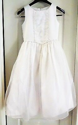 American Princess Size 12 Girl's White Dress Bridesmaid Flower Girl LN EUC