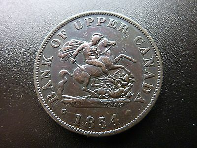1854 Upper Canada Half Penny Bank Token Coin