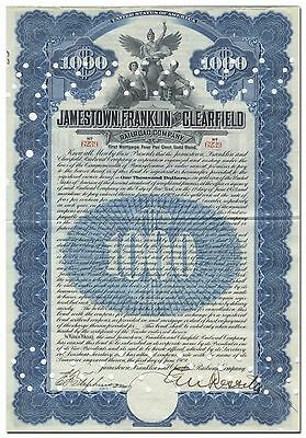 Jamestown, Franklin and Clearfield Railroad Company Bond Certificate