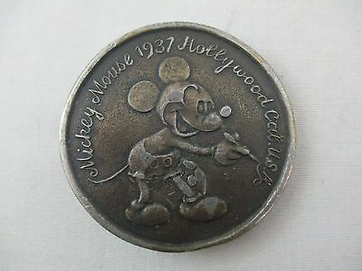 Vintage Mickey Mouse 1937 Hollywood CA Belt Buckle
