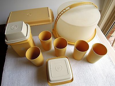 Vintage   HARVEST  GOLD  TUPPERWARE  -  17  Pieces  - EUC   Pick Up 3085 or POST