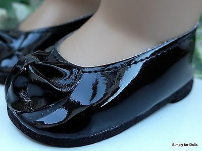 """**SALE** BLACK Patent Leather Ballet Flats DOLL SHOES fits 18"""" AMERICAN GIRL"""