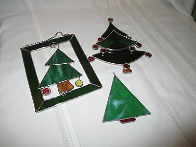 Lot Of 3 Stained Glass Christmas Tree Suncatchers
