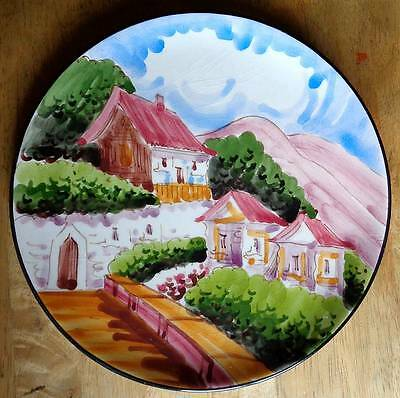 Large Hand Painted Scene Pottery Plate Collectable/Decorative/Art Pottery