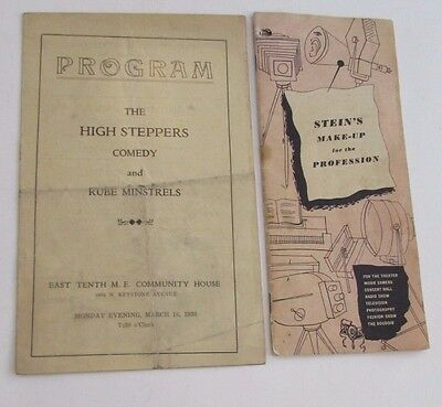 Indianapolis 1936 Comedy Rube Minstrels Program Stein's Theater Make-Up Brochure